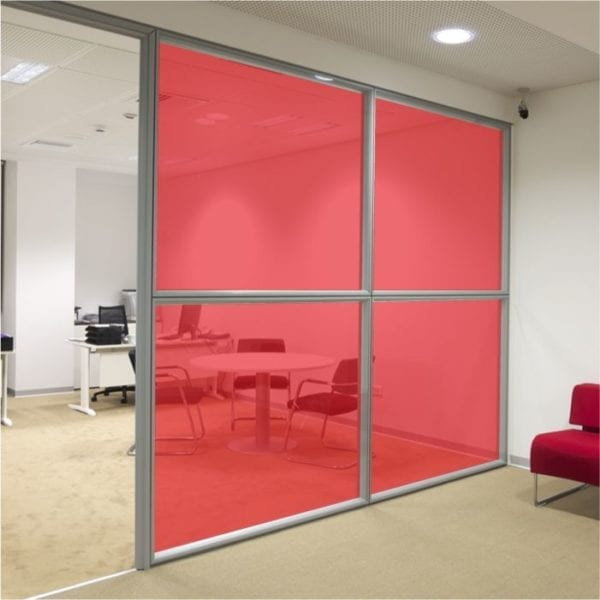 red stained glass window film