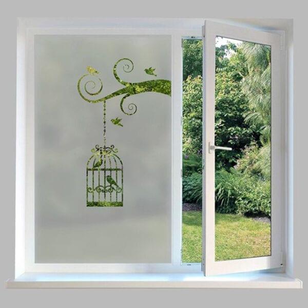 Contemporary Window Film Bird Cage