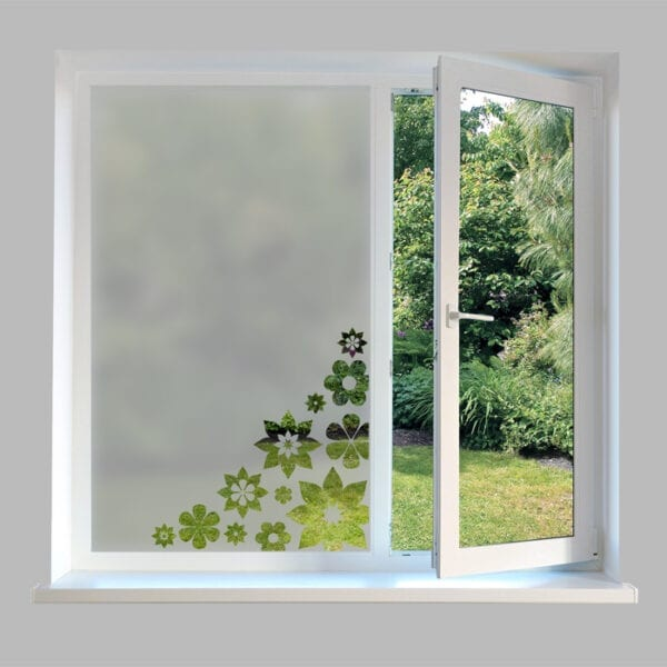 Contemporary Window Film Corner Flower - FP38