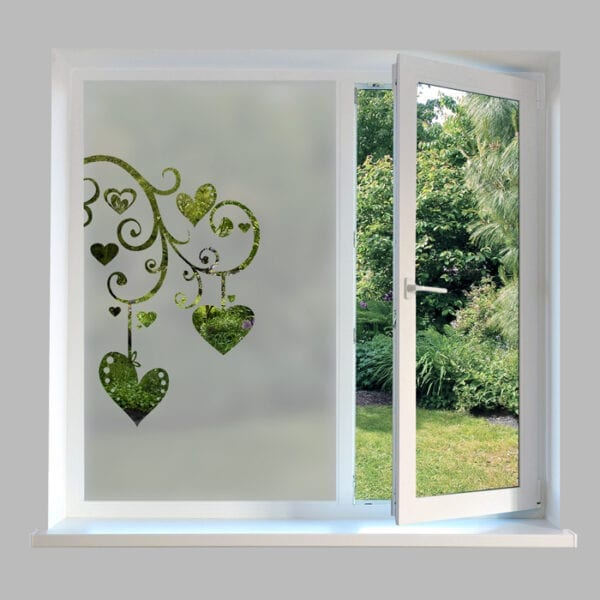 Contemporary Window Film Hanging Hearts - DC54