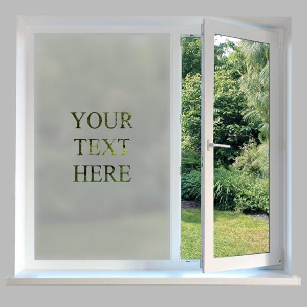 Contemporary Window Film Personalised Text