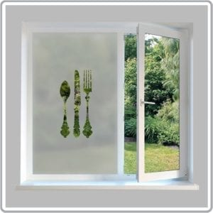 knife fork kitchen privacy frosted window film