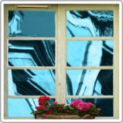 Blue reflective mirror window film