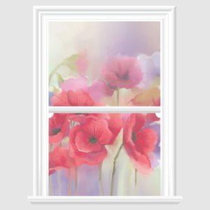 Poppy Watercolour Decorative Window Film